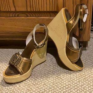 Bronze Coach wedge heels size 6.5